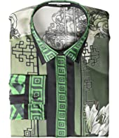 Versace Collection - Water Lily Print Silk Button Down