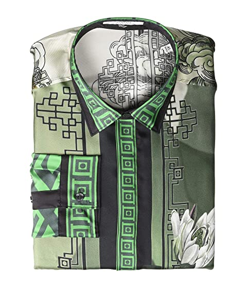 Versace Collection Water Lily Print Silk Button Down