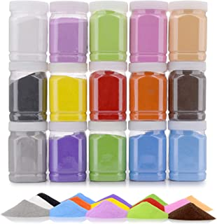 [16.5 Pound] Art Sand/Scenic Sand Non-Toxic Colored Sand for Kids' Arts & Crafts, Terrarium Sand Play DIY Drawing Sandbox Wedding Sand for Decorations and Crafty Collection Sand Bottles … (15 Bottles)