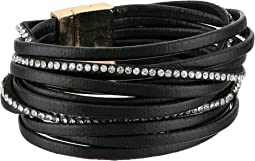 Faux Leather Multi Strap Look Magnetic Close Cuff Bracelet
