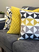 Urban Loft by Westex Shattered Triangles Ivory Feather Filled Decorative Throw Pillow Cushion 14 x 26
