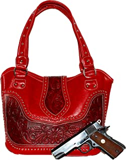 Concealed Carry Purse - Tooled Genuine Leather - Red