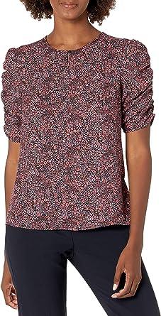 Lark & Ro Amazon Brand Women's Ruched Sleeve Woven Blouse