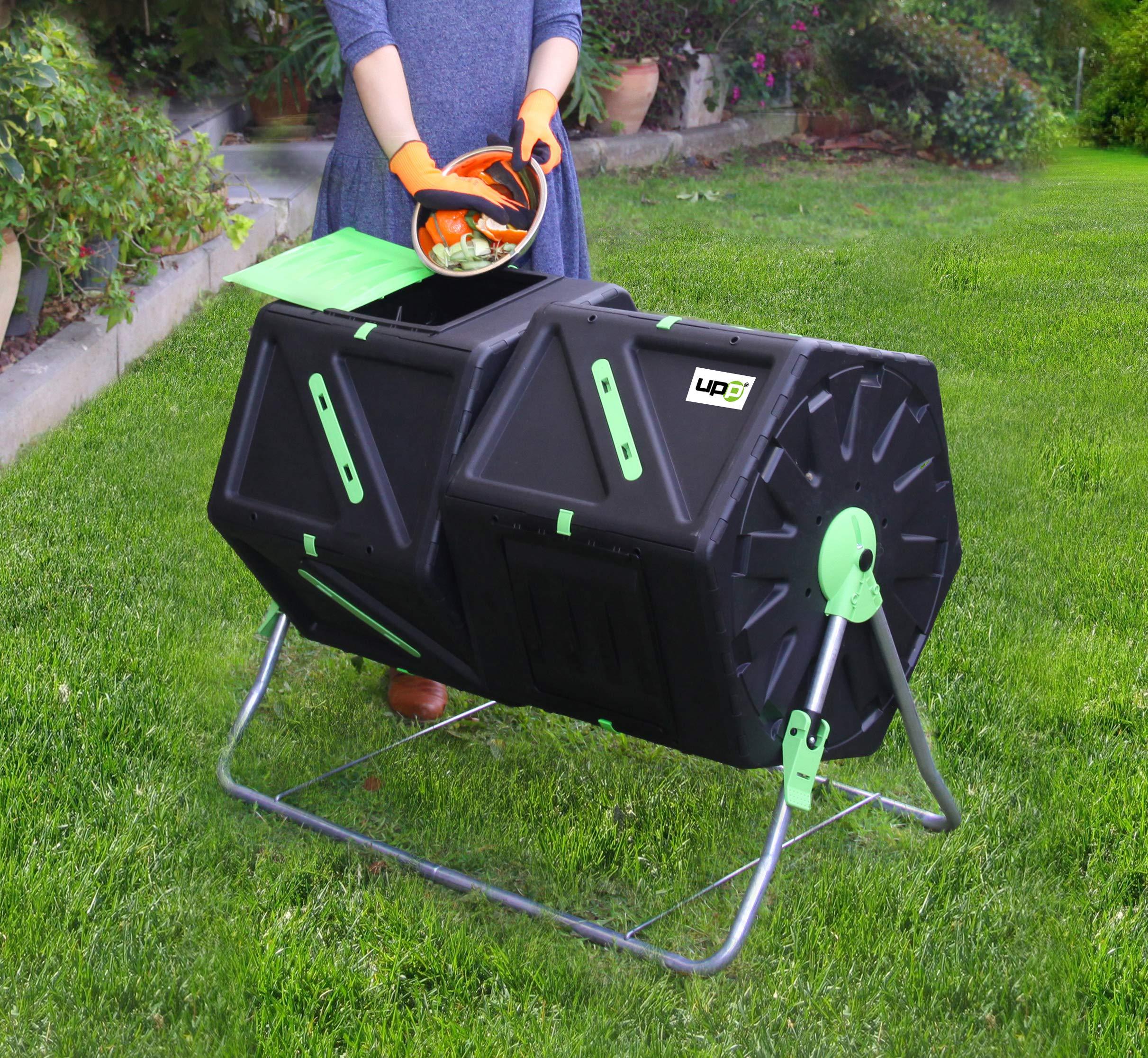 UPP Compostador de barril, 2 cámaras/tambores de 105L para jardín ...
