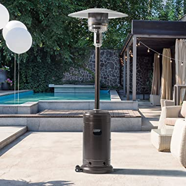 PAMAPIC Patio Heater, 46000 BTU Commercial Propane Outdoor Heater - 88 Inches Tall Standing Patio Heater With Cover, Bronze