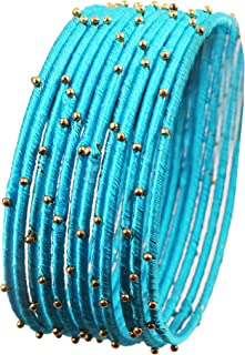 تاتش ستون هندي بوليوود نظرة غامضة منسوجة باليد بخيط حريري صناعي وخرز ذهبي رائع ولون غريب، مصمم مجوهرات أساور للنساء.