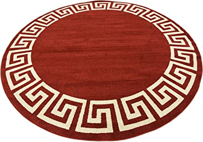 Unique Loom Athens Geometric Casual Area Rug, 8' 0 x 8' 0, Burgundy/Beige