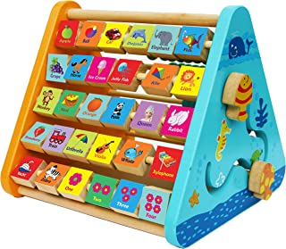Wooden Activity Centre Triangle Toys - Wooden Alphabet Blocks Abacus Clock - Activity Cube for Toddlers 5 in 1-Wooden Acti...