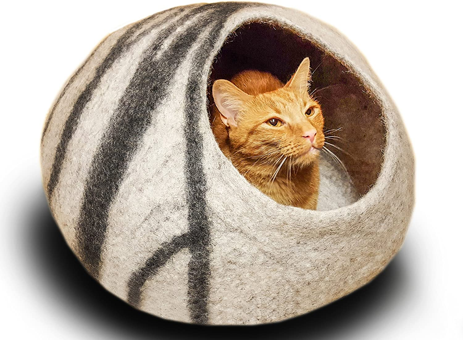 MEOWFIA Premium Felt Cat Bed Cave (Medium)  Handmade 100% Merino Wool Bed for Cats and Kittens