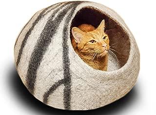 grey felt cat bed