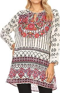 Ida Womens Peasant Boho Tunic Blouse Top with Long Sleeves & Embellishing