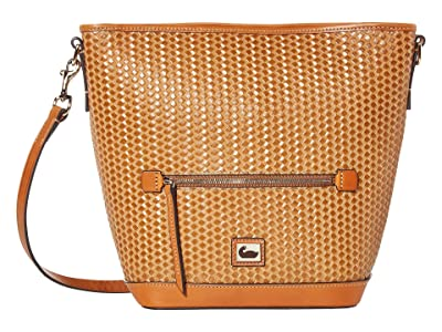 Dooney & Bourke Camden Woven Small Hobo Crossbody (Camel/Natural Trim) Handbags