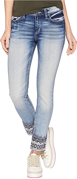 Mid-Rise Ankle Skinny w/ Embroidery in Medium Blue