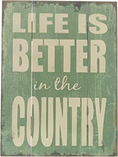 Barnyard Designs Life is Better in The Country Wood Plaque, Primitive Country Farmhouse Home Decor Sign 16