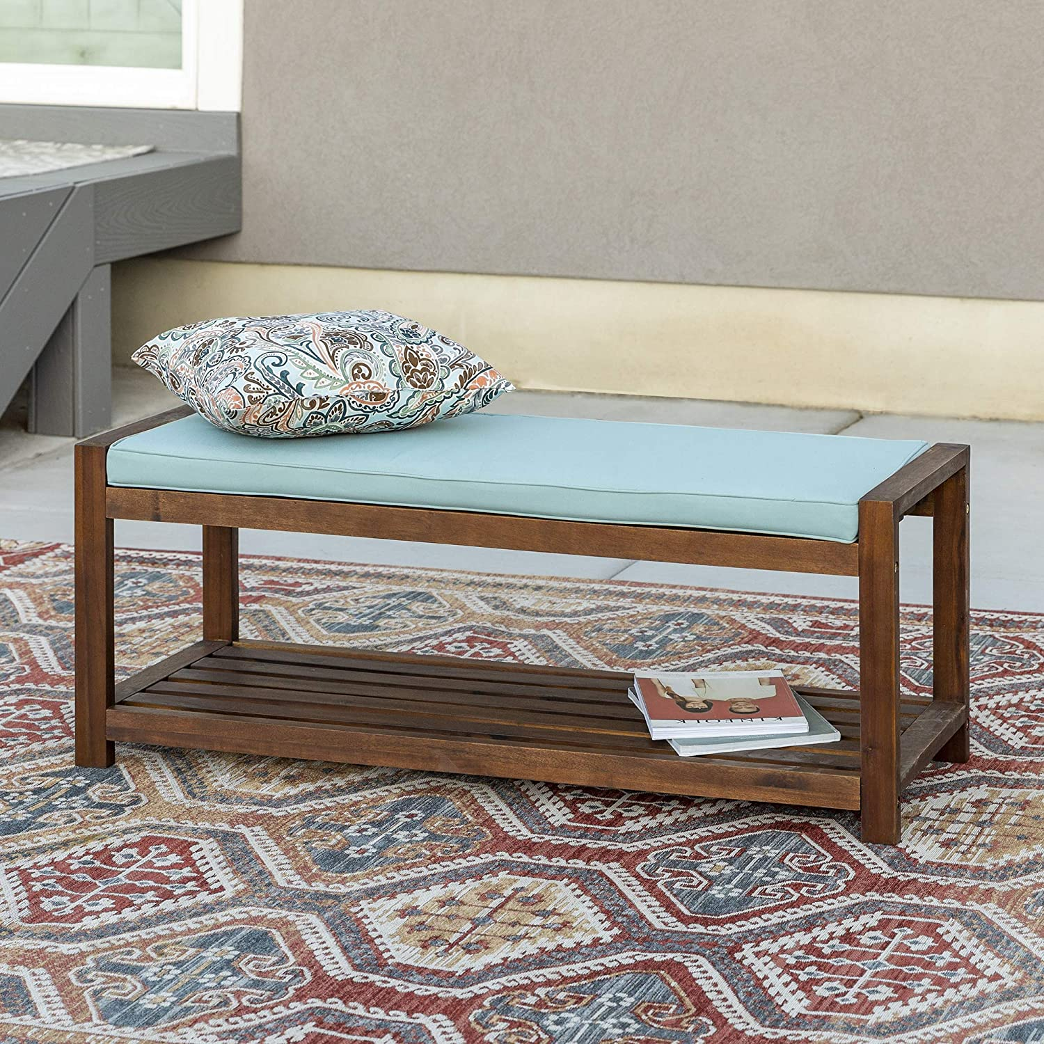 Walker Edison Willmington Solid Acacia Wood Slatted Outdoor Bench with Cushion, 48 Inch, Dark Brown and Blue