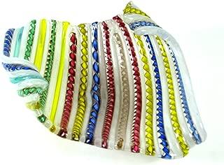 Italian Art Glass Zanfirico Murano Venetian Latticino Ribbon Cane Glass Bowl / Dish c1950s 9