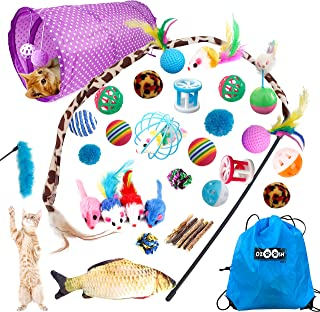 Ozoosh Pets 29 pcs Cat Toy Set w Cat Tunnel Feather and Teaser Wand Catnip Assorted Balls Mice Fish and Bell Toys for Cats...