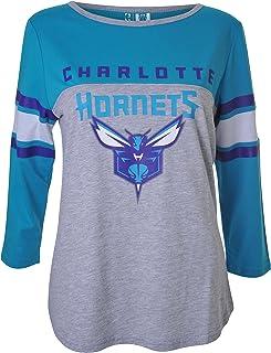 NBA Charlotte Hornets Women's T-Shirt Raglan Baseball 3/4 Long Sleeve Tee Shirt, Medium, Gray