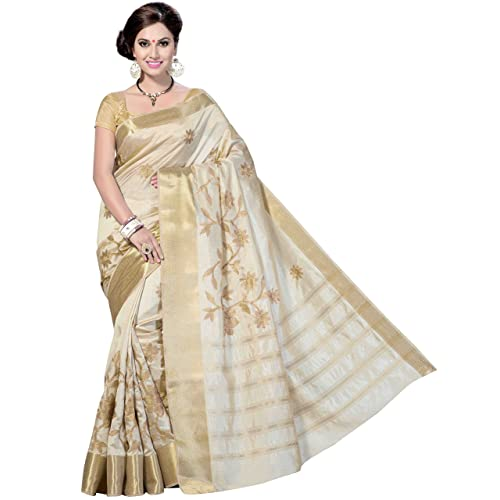 2b15f2d458 Rani Saahiba Art Silk Saree With Blouse Piece (SKR1079_Off-White_One Size)