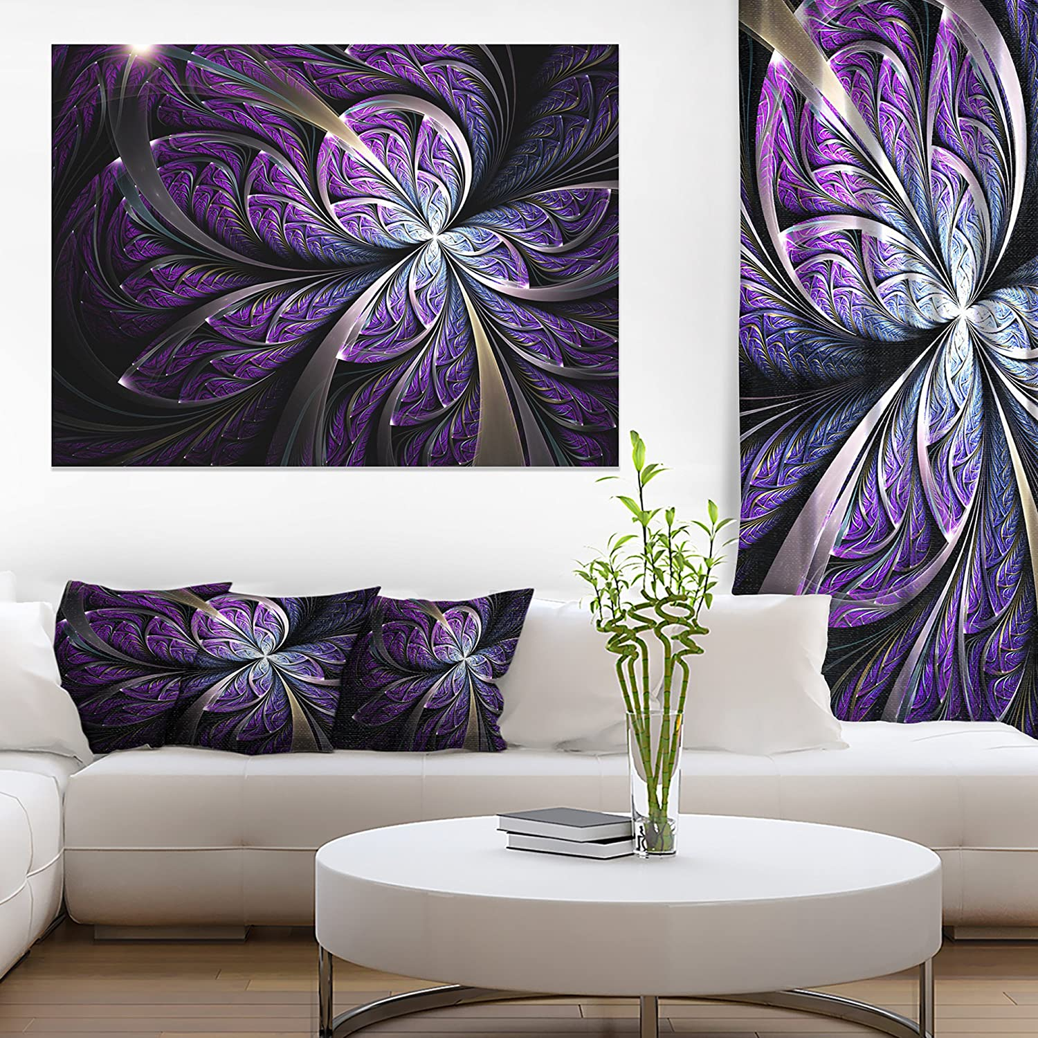 Amazon Com Glittering Purple Fractal Flower Floral Canvas Art Print Posters Prints