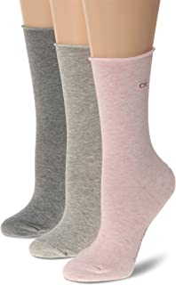 Calvin Klein Women's 3 Pair Roll Top Crew Socks, Faded Pink/Pale Grey Heather/Grey Heather, One size