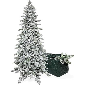 Albero Di Natale Stretto.Albero Di Natale Slim Innevato Gaia 180 Cm Con Borsa Porta Albero Molto Folto E Realistico
