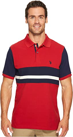 Classic Fit Color Block Short Sleeve Pique Polo Shirt