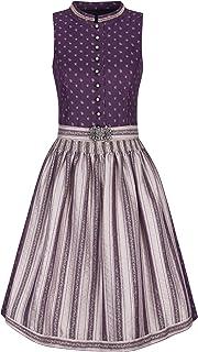 Almbock Midi Dirndl - Dirndl hochgeschlossen 100% Baumwolle Made in Germany - Traditionelles Dirndl in violett in den Größen 34-44