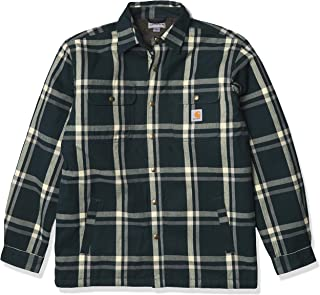Men's Relaxed Fit Flannel Sherpa-Lined Snap-Front Plaid...