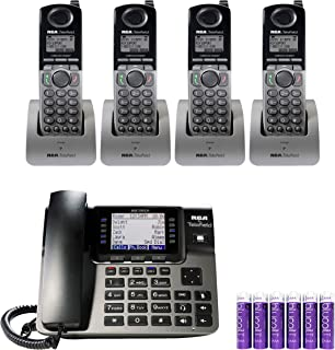 RCA U1100 Unison Wireless Deskphone - 4 Line Phone Systems for Small Business Bundled with 4-Pack of RCA U1200 Cordless Accessory Handsets and 6 Pack of Blucoil AAA Batteries