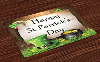 Ambesonne St. Patrick`s Day Place Mats Set of 4, Happy Celebration with Text on Wooden Planks Gold and Hat Irish Tradition, Washable Fabric Placemats for Dining Room Kitchen Table Decor, Brown Cream