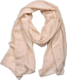 Woogwin Women's Cotton Scarves Lady Light Soft Fashion Solid Scarf Wrap Shawl (One Size, beige)