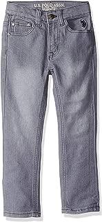 U.S. POLO ASSN. Little Boys' Straight Leg Jean, Flex Denim Medium Grey Wash, 5