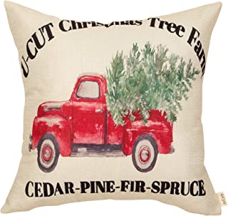 Fjfz Christmas Farmhouse Decorative Throw Pillow Cover Christmas Tree Farm with Vintage Red Truck Sign Winter Holiday Decoration Rustic Home Décor Cotton Linen Cushion Case for Sofa Couch, 18