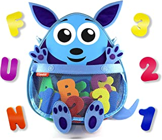 Kangaroo Bath Toy Organizer with Toys – Premium Mesh Bath Toy Storage Net + 36 Foam Bath Letters and Numbers + 2 Reusable Adhesives + Bonus E-Book - Cute, Fun, Educational - Available in Blue & Pink