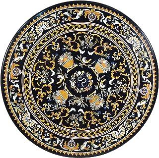 Gifts And Artefacts Table de salle à manger en marbre avec incrustation de table ronde noire pour couloir avec motif unique