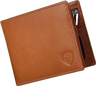 SKENZBI® RFID Wallet For Men - Space for 12 Card Holder, Cash, ID Window - Slim Leather Wallet Card Holder For Men (Tan)