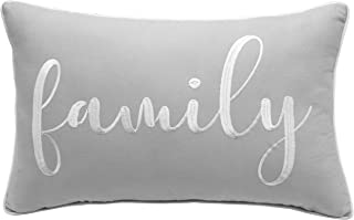 YugTex Family Sentiment Embroidered 12x20 Decorative Lumbar Accent Throw Pillow Cover - for Sofa/Couch (Light Grey, 12x20