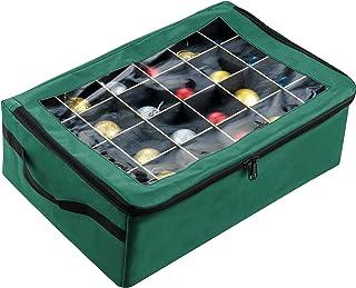 Tiny Tim Totes 83-DT5575 Premium | 48 Christmas Ornament Organizer Storage Box | Green, Case