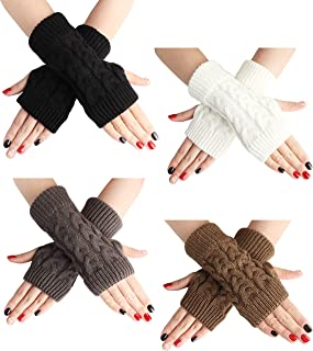 LOLIAS 2-4 Pairs Women's Winter Warm Crochet Fingerless Gloves Hand Knit Thumbhole Short Arm Warmers Mittens