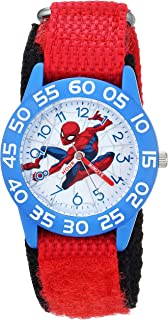 MARVEL Boys Spider-Man Analog-Quartz Watch with Nylon Strap, red, 20 (Model: WMA000182