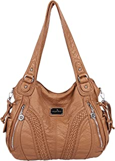 223277c22693 Angelkiss Women Top Handle Satchel Handbags Shoulder Bag Messenger Tote  Washed Leather Purses Bag …