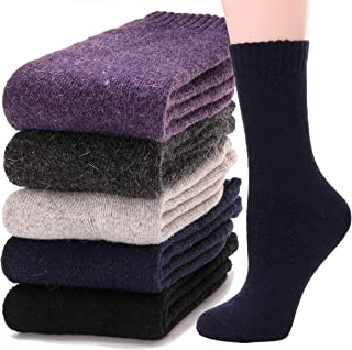 Womens Wool Socks Warm Thermal Thick Heavy Cold Weather Winter Socks 5 Pack