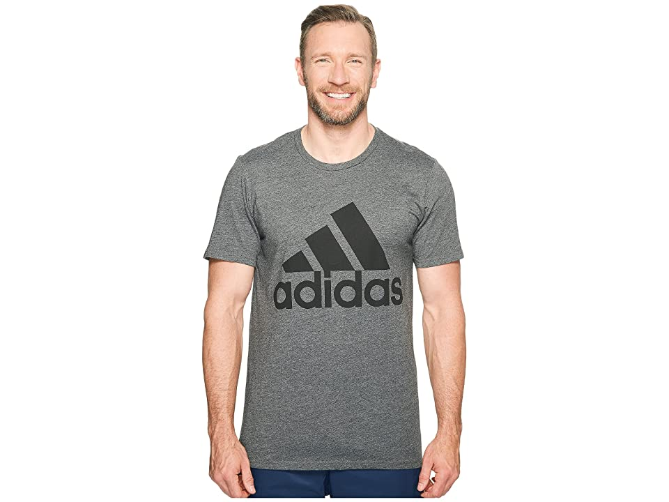 adidas Big Tall Badge of Sport Classic Tee (Dark Grey Heather/Black) Men's T Shirt