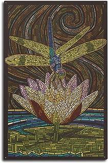 Lantern Press Dragonfly - Paper Mosaic (10x15 Wood Wall Sign, Wall Decor Ready to Hang)