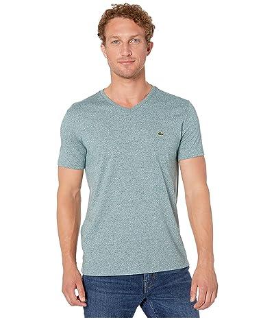 Lacoste Short Sleeve Pima Jersey V-Neck T-Shirt (Danube Chine) Men