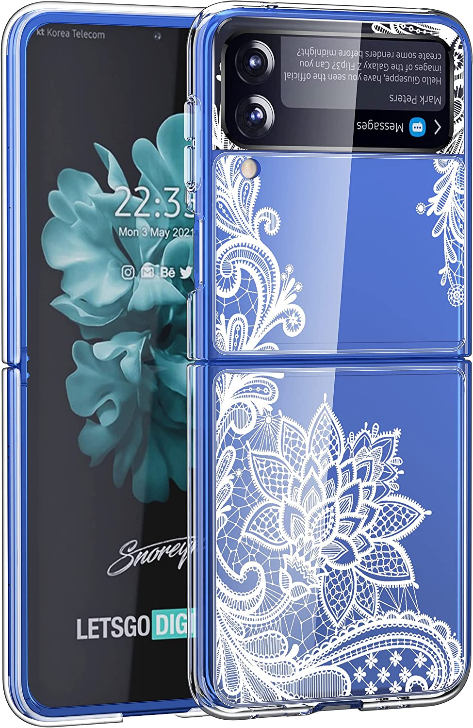Osophter for Galaxy Z Flip 3 Case,Samsung Z Flip 3 Case Clear Flower Floral for Girls Women Shock-Absorption Transparent Back Cell Phone Cover Cases for Samsung Galaxy Z Flip 3(White Lace)
