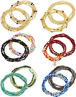 LOLIAS 12 PCS Waist Beads Chain Colorful Belly Beads Chain Layered Belly Body Chain Elastic Summer Beach Waist Jewelry Fas...