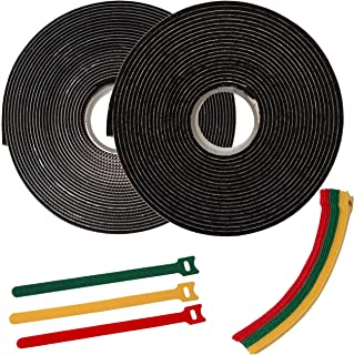 FixZilla 1 Inch x 15 Feet Industrial Strength Hook and Loop Strips with Adhesive Heavy Duty + 15 Reusable Cable Ties
