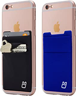 (Two) Stretchy Cell Phone Stick on Wallet Card Holder Phone Pocket for iPhone, Android and All Smartphones. (Blue&Black)